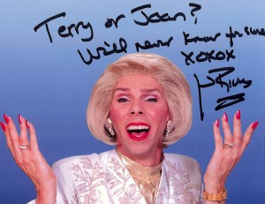 """""""Terry or Joan? We'll never know for sure xoxox Joan Rivers"""