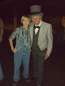 Evan my youngest son as 'Little Pete' on the left & I as 'Doc' on the right