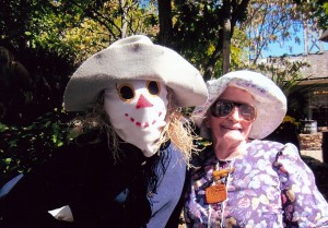 As 'Icky' the scarecrow with fiddle maker Violet Hensley